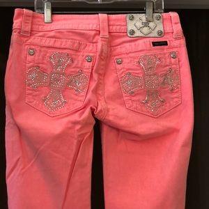 Miss Me Neon Pink/Coral Embellished Skinny Jeans